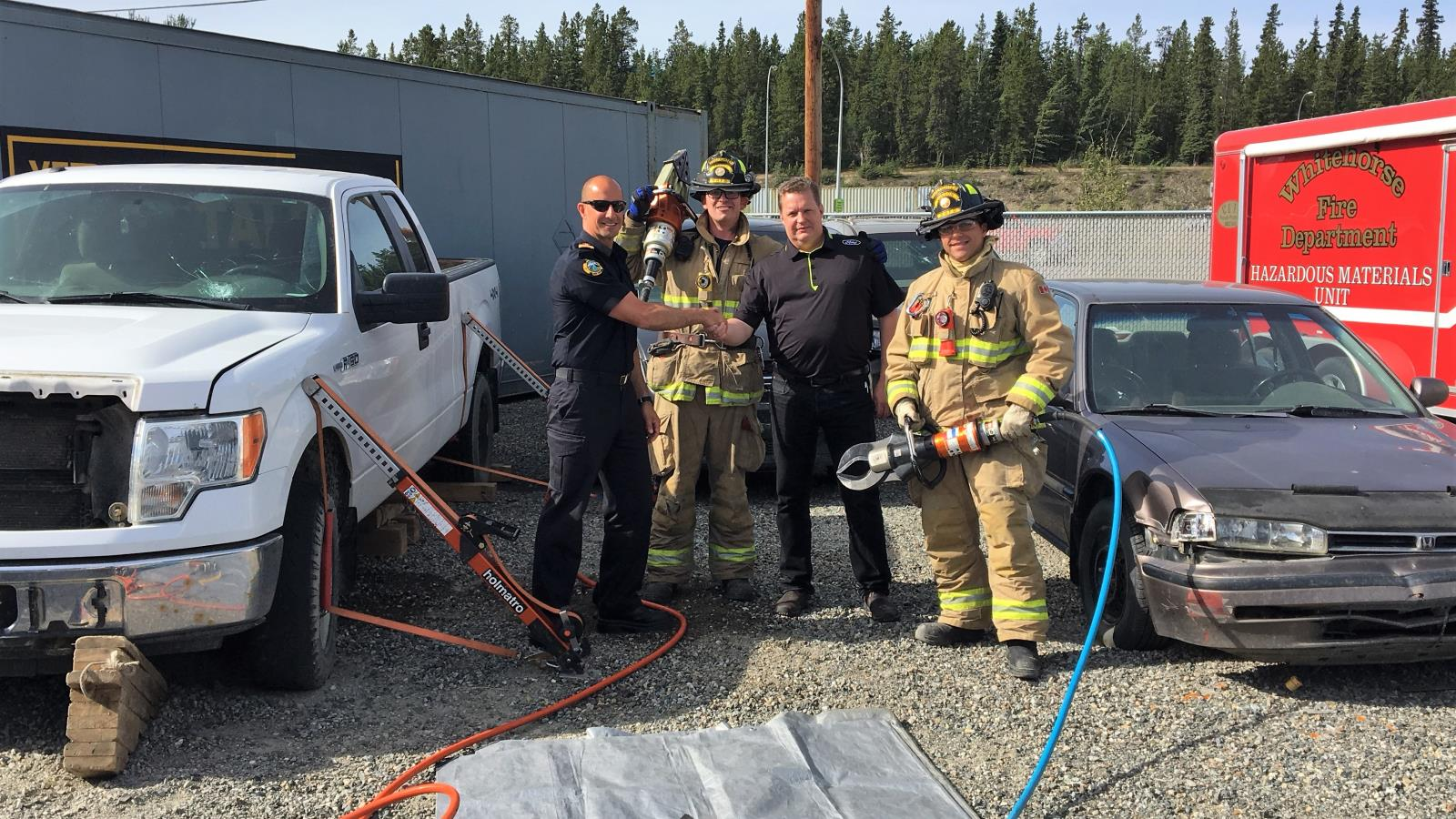 Jaws of life training firefighters
